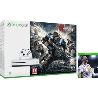 Microsoft Xbox One S 1TB fehér konzol + GoW4 + FIFA 18 játékszoftver